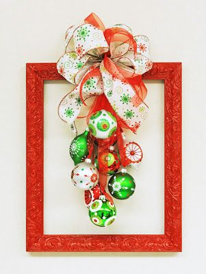 Ben Franklin Crafts and Frame Shop: D.I.Y. Christmas Frame Wreath loving the big swaggy look, perhaps a summer theme with flip flops and big plastic glasses