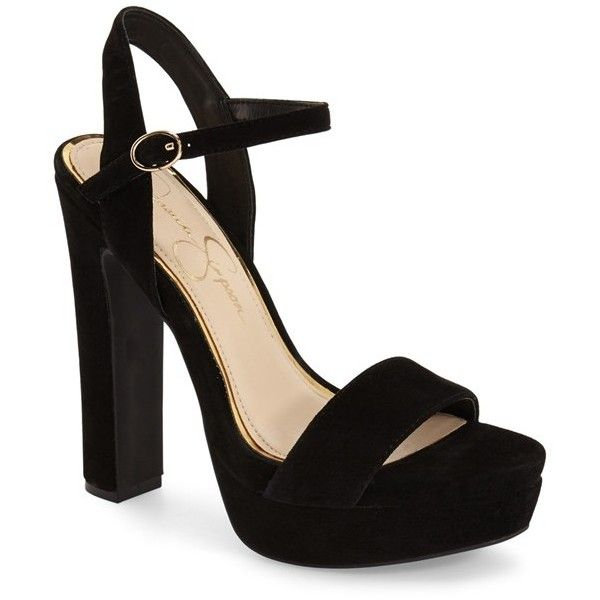 "Jessica Simpson 'Blaney' Platform Sandal, 5 1/4"" heel (£46) ❤ liked on Polyvore featuring shoes, sandals, heels, black suede, heeled sandals, high heel shoes, ankle strap heel sandals, jessica simpson sandals and platform sandals"