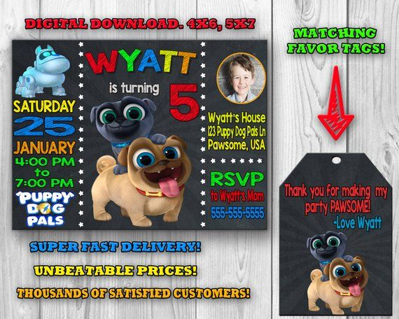 Puppy Dog Pals Invitation Puppy Dog Pals Birthday Party Puppy Dog Pals Invite Favor Tags Printable Dogs Puppies Puppy Party 2nd Birthday Parties