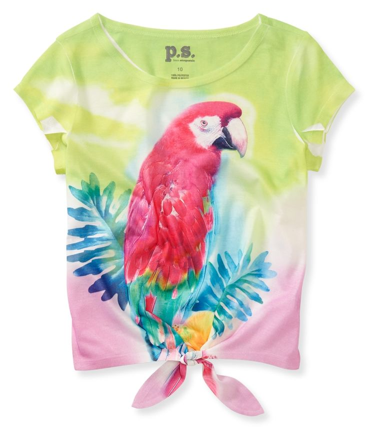 Give all the style snobs at school something to squawk about with our Parrot Tie-Front Graphic T!