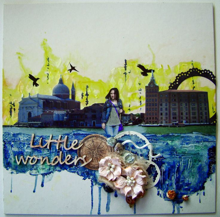 Mixed media layout for Scrap Around the World #scrapbooking #watercolors #texture