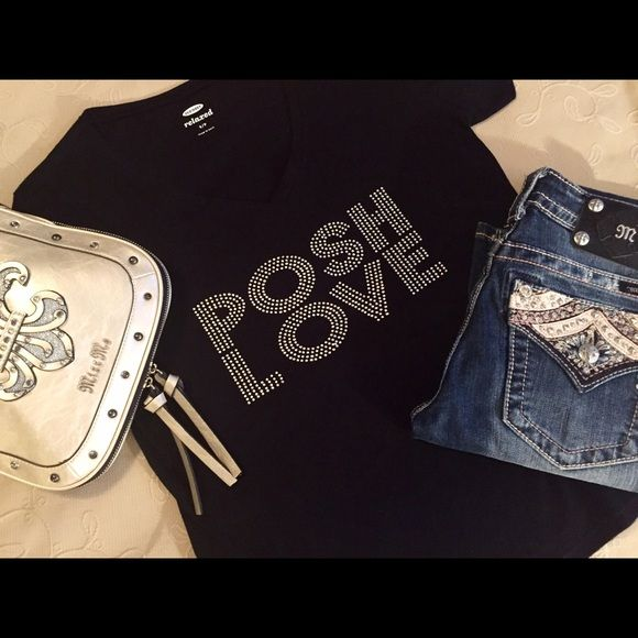 AVAILABLE NOW!BLING POSH LOVE TEES Another round of custom tees are made! I chose old navy tees this time for 3 reasons... They wash up well, the are true to size or roomy, AND they are made in Haiti to help ladies in need of work!!! POSH LIVE & GIRL POWER! Please do not purchase this listing. Just ask and I will make you a personalized listing❣Bling is pricey... Please understand❣ Tops Tees - Short Sleeve