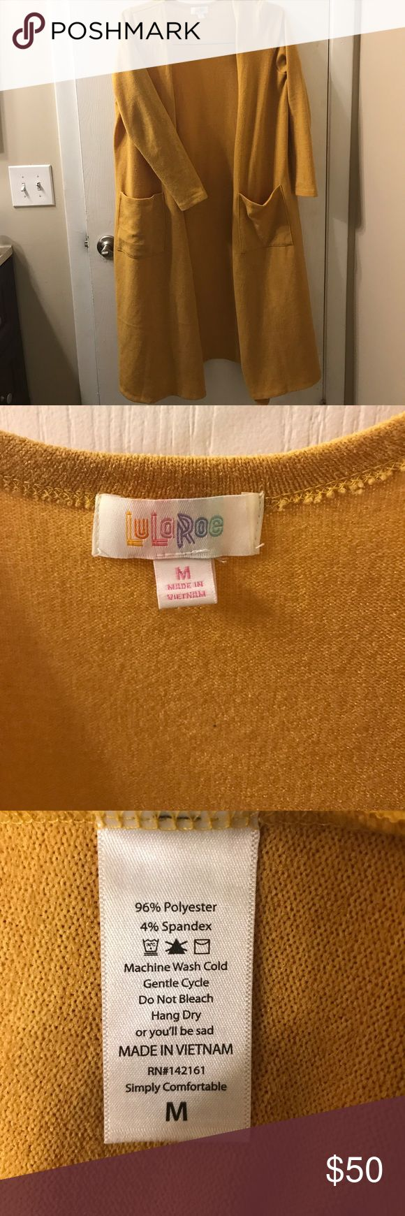 Lularoe yellow Sarah Lularoe beautiful yellow mustard Sarah cardigan LuLaRoe Sweaters Cardigans