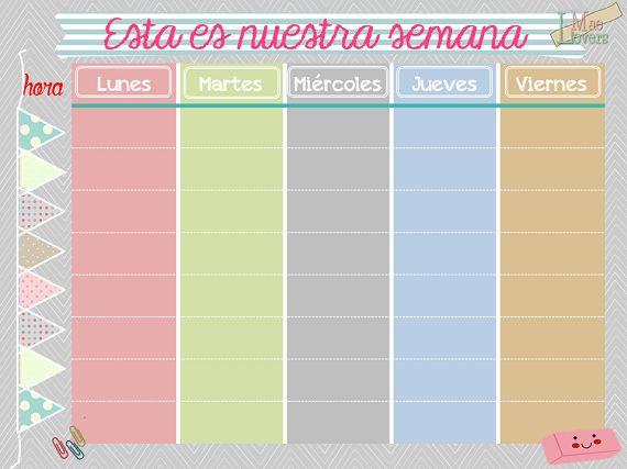 Blog F de Fifi: manualidades, DIY, maternidad, decoración, niños.: Calendario semanal gratis listo para descargar