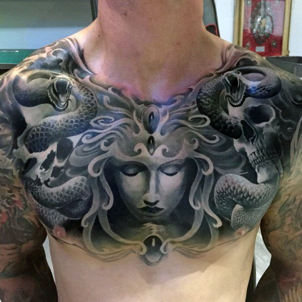 50 Skull Chest Tattoo Designs For Men Haunting Ink Ideas Medusa Tattoo Design Medusa Tattoo Cool Chest Tattoos