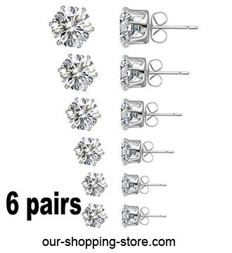 Jewelry Women's Stainless Steel Round Clear Cubic Zirconia Diamond Rhinestone Stud Earring (6 Pairs)