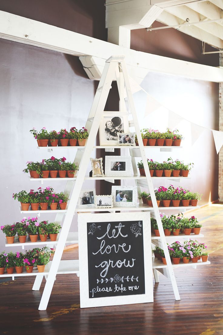 Love this painted ladder with shelving to display potted plant wedding favors. Make the stand/table as unique as the favors!