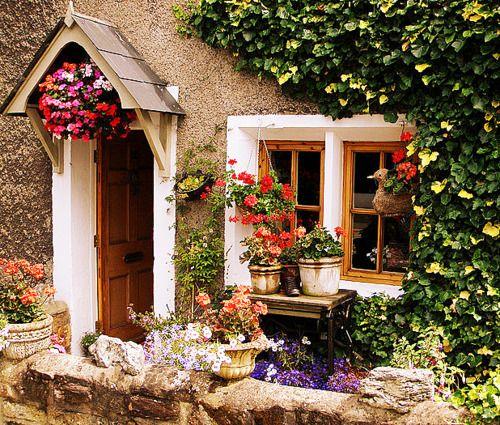 <3: Cozy Cottages, Stones Cottages, Doors Design, Modern Architecture, Front Doors, House, Flower, Little Cottages, Gardens Cottages