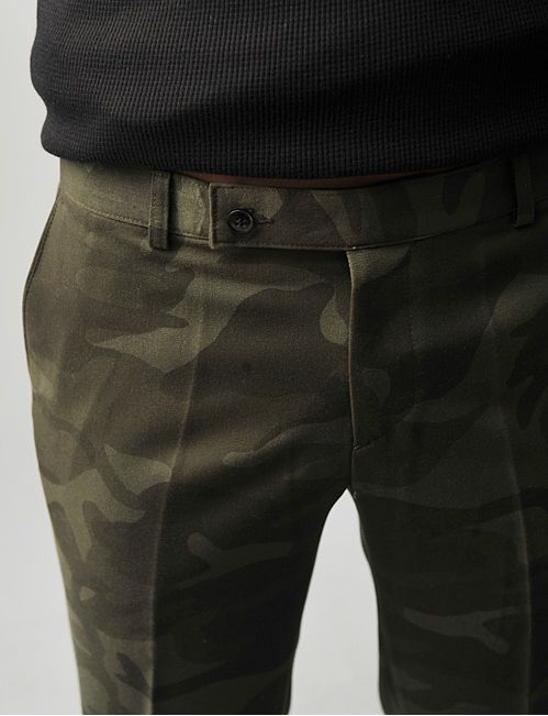 Camo Dress Chinos, and Black Sweater. Mens Fall Winter Fashion.