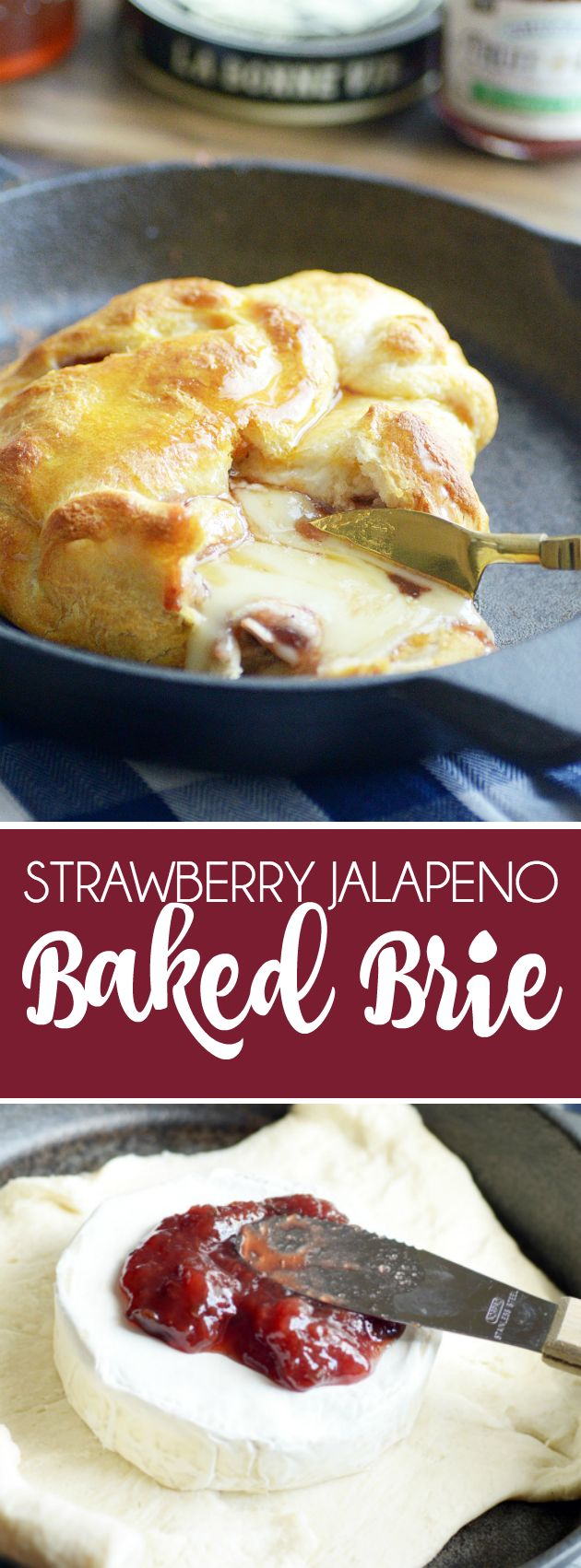 Buttery, flaky crescent roll dough stuffed with gooey brie cheese, strawberry jalapeño jam, with a drizzle of honey. A crowd winning baked brie!