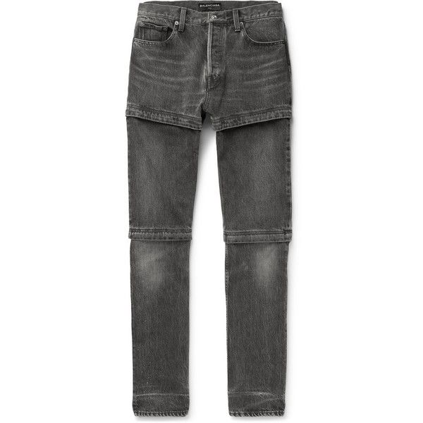 Balenciaga Zip-Panelled Denim Jeans (£646) ❤ liked on Polyvore featuring men's fashion, men's clothing, men's jeans, mens zipper jeans, gray mens jeans, mens grey jeans, mens biker denim jeans and mens denim jeans
