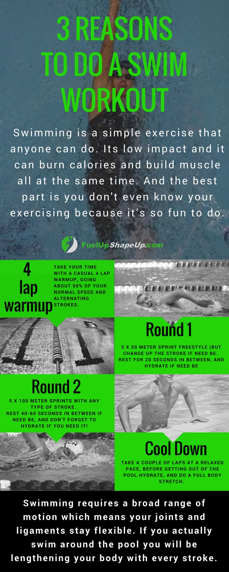 With the summer coming up, get ready for the swimming season! Check out these 3 benefits of a swimming workout and find out how to get your beach body ready here http://fuelupshapeup.com/3-reasons-why-you-should-be-swimming/