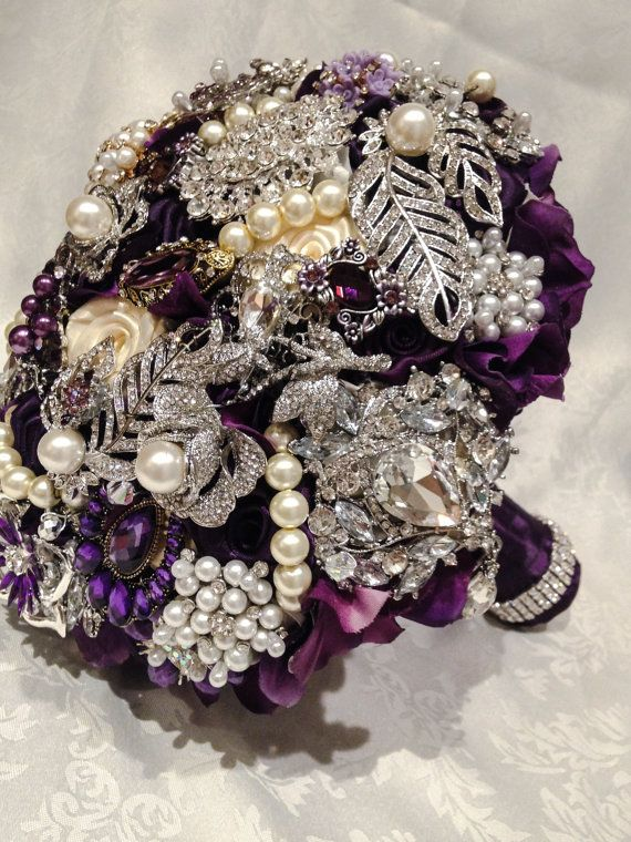 Purple Brooch Bouquet. DEPOSIT on Purple Plum by NatalieKlestov