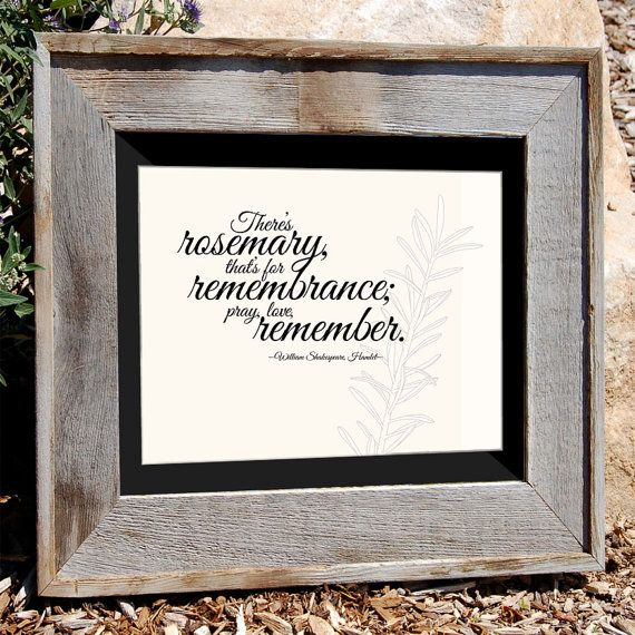 "Shakespeare Quote - Hamlet quote - 8x10"" Typographic Print ""There's Rosemary, That's For Remembrance ..."""