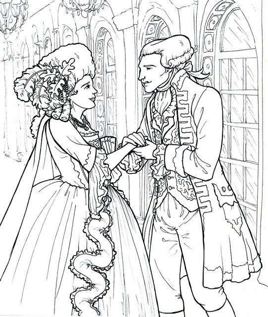 marquise and marquis de lafayette free coloring page