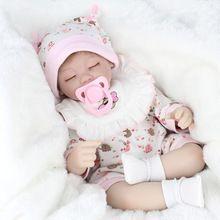 Simulatie Realistische Reborn Babypoppen Zachte Siliconen Ogen Gesloten Slapen Meisje Poppen Levensechte Pasgeboren Pop Meisjes Gift Baby Speelgoed(China)