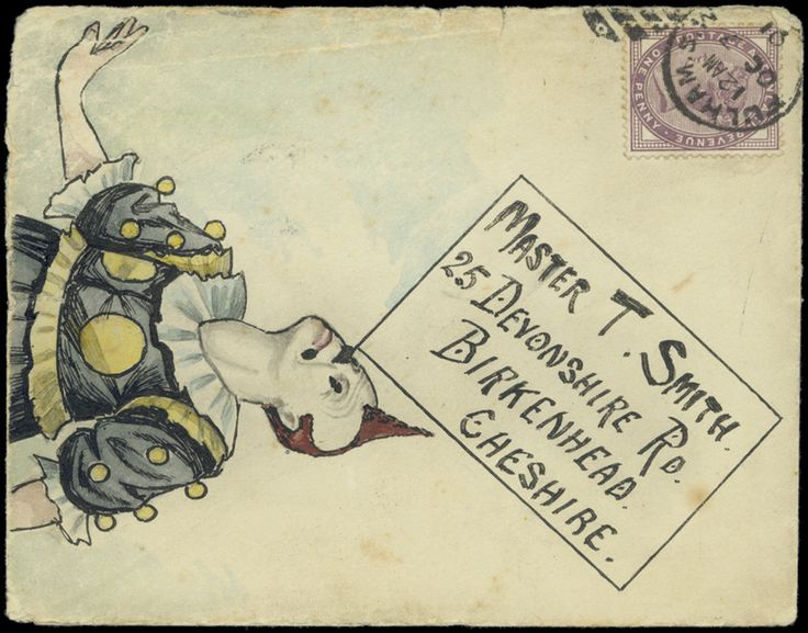 1901 (Oct. 7th) hand-painted envelope depicting a clown carefully balancing the address panel on his nose, sent from Fulham to Birkenhead with 1881 1d. lilac.