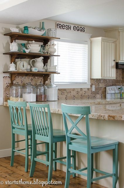 Start at Home Decor. My mismatched barstools are a favorite around here. Have you wondered where I got them, how I painted them and how well they held up? Here are the details.