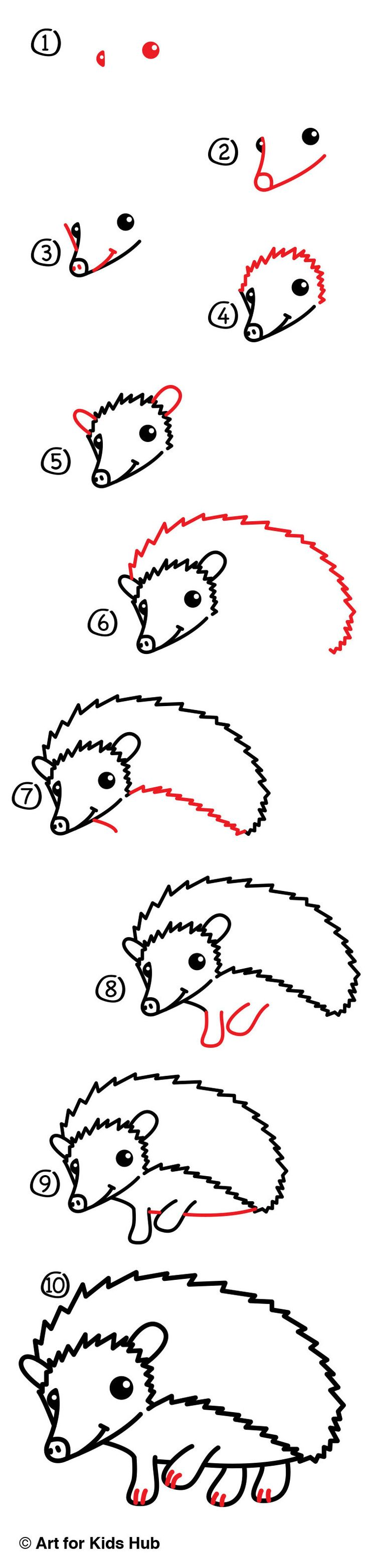 Follow along with us and learn how to draw a hedgehog. We use super simple steps made just for kids!