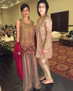"""Zara and Mehreen both wearing #SairaRizwan at a wedding last night in #Lahore. @zaragul_ @mehreengardezi"""