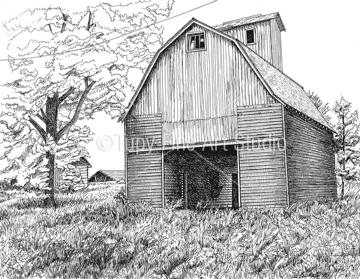 92 best images about pin n ink on pinterest drawing for How to draw a barn easy