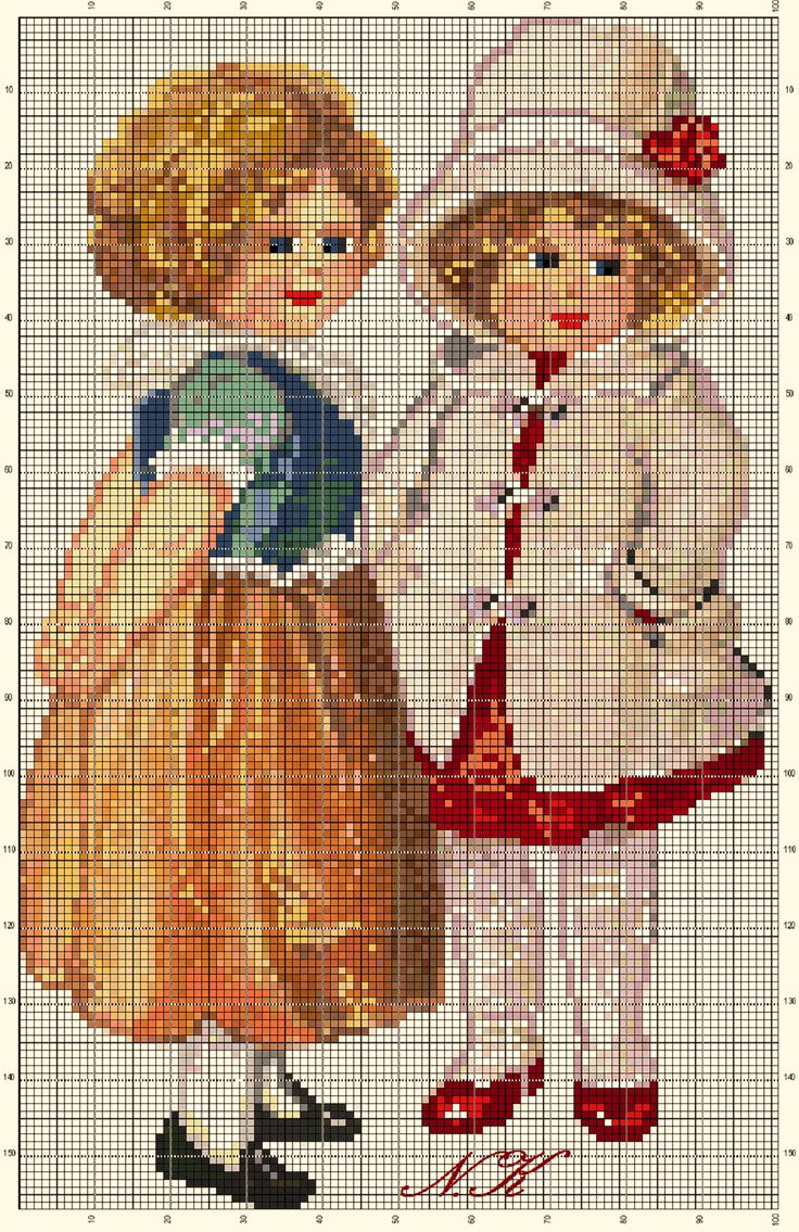 Points de croix *@* cross stitch Girls - An adaptation work by Nurdan Kanber