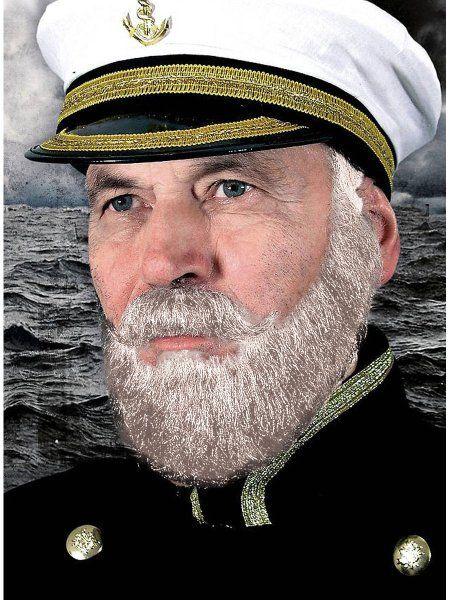 """https://11ter11ter.de/14298924.html Kapitän Bartkombination aus Echthaar """"Weiß"""" #11ter11ter #Fasching #Mottoparty #Party #Bart #Haare #Marine #Matrose #maritim"""