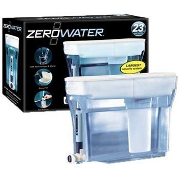 Zero Water 23 Cup Dispenser with Filter.  23 cup container - the largest refrigerator filter dispenser available on the market today  Zero stale water - completely dispensers all water  One-hand Pull & Pour button spout to fill any bottle or cup  Convenient, space-saving design  Easy-accessfil - refill your dispenser while its in the fridge