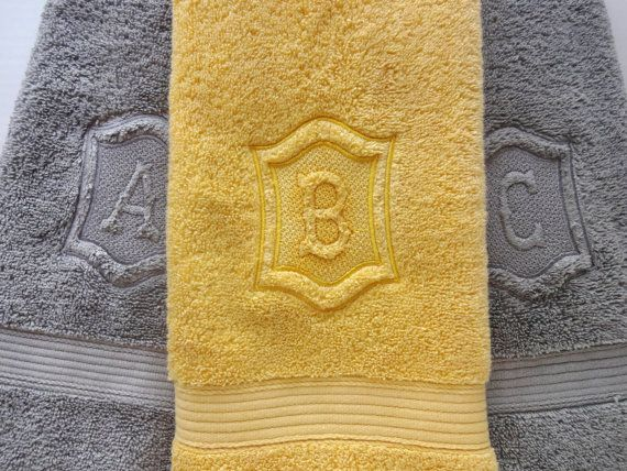 Personalized Hand Towels, hand towel, bathroom, personalized gift, embroidered  towels, grey yellow, grey and yellow bathroom, gray, wedding...