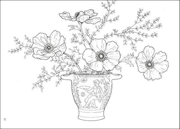 Line Drawings Of Flower Arrangements : Flower arrangement coloring pages sketch page