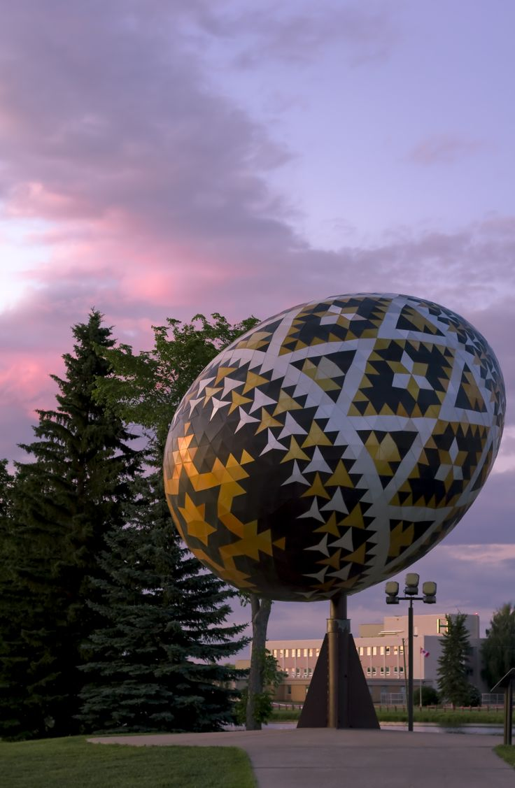 sunset with the Vegreville Pysanka Egg