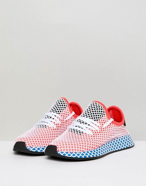 9b9b3ee3c adidas Originals Deerupt Runner Sneakers In Red And Blue