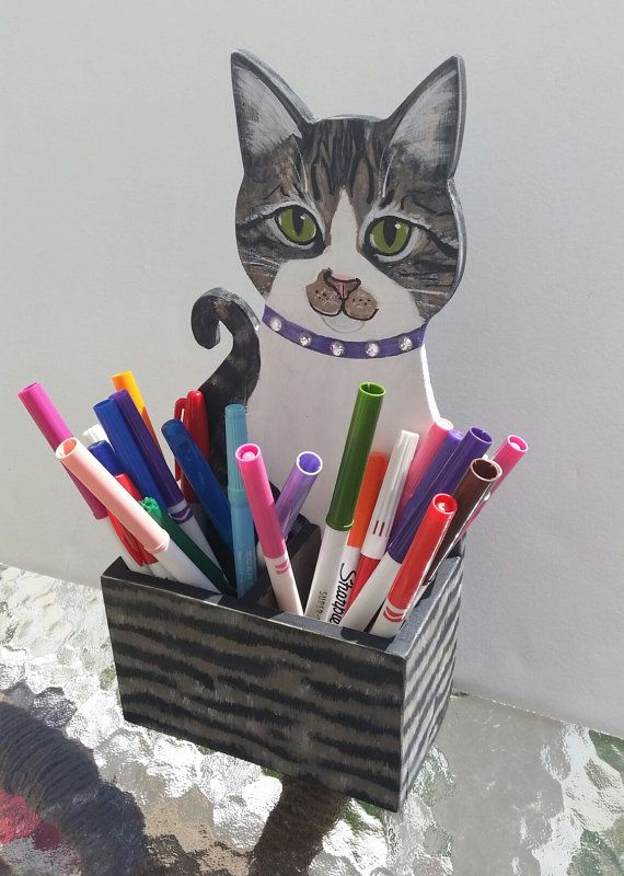 Tabby Cat Pencil Holder Functional Wood Art Hand by KittyCatStudio