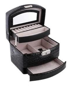 Elegant Hand-crafted Semi-automatic Crocodile Pattern Black Leather Jewelry Box / Case / Storage / Organize... $19.99