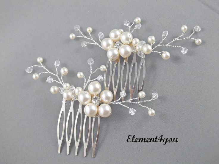 Bridal comb, Wedding hair comb, Set of 2, Ivory pearls hair piece, Wedding hair accessories, Bridesmaid hair comb, Unique headpiece. $42.50, via Etsy.