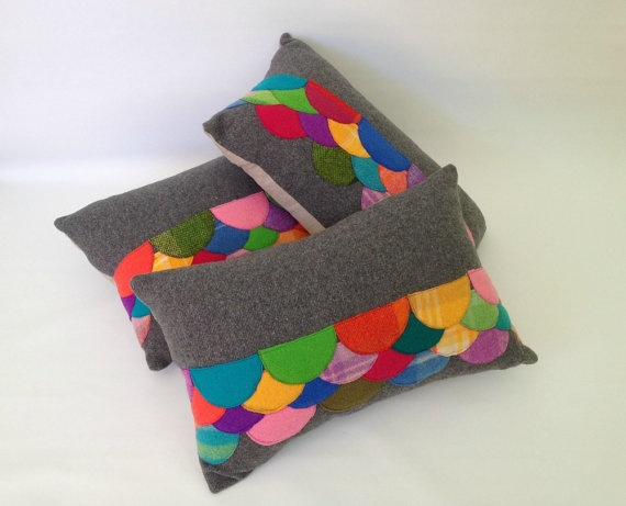 Wool Felt Applique Confetti Scales Cushion OOAK by fablefolk, $120.00  - I have one of these and I love it!!