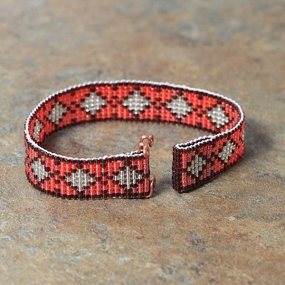Southwestern Pink Diamonds Beaded Bracelet by PuebloAndCo on Etsy, $12.99