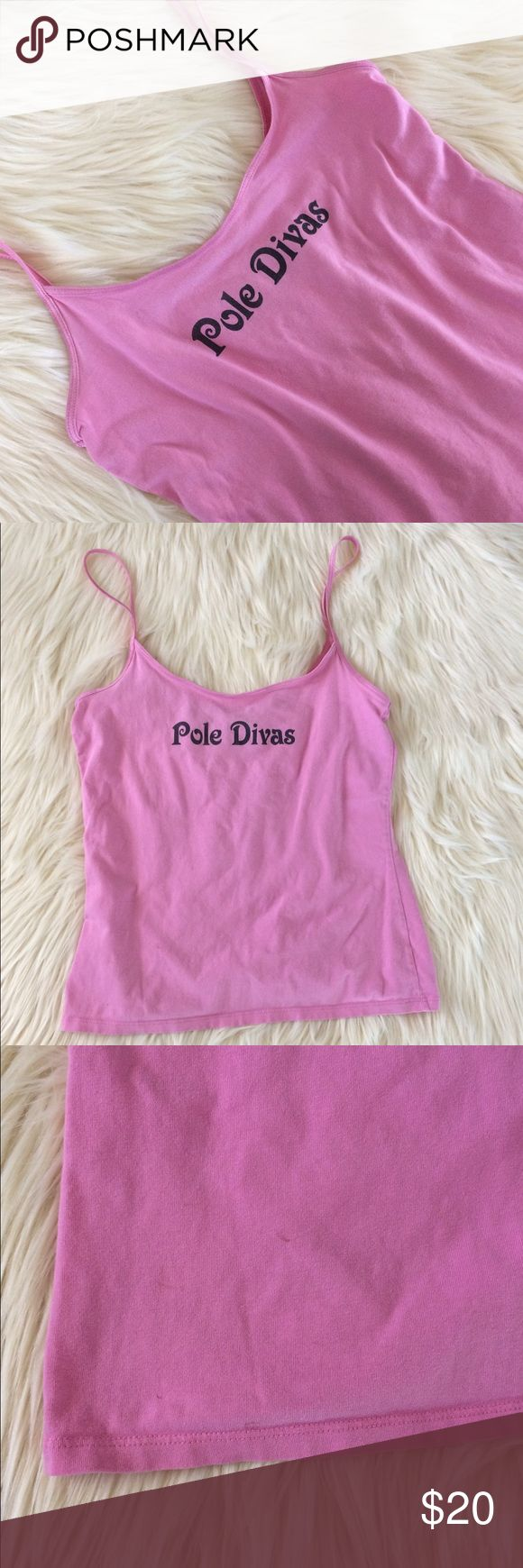 """Vintage Funny Tank Pink graphic tank features mermaid on the back and saying """"Pole Diva"""" on the front. Women's size Small. Vintage. Minor discoloration shown 3rd pic. Always open to offers, awesome find!! Vintage Tops Tank Tops"""
