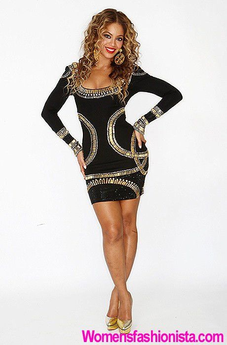 Ladies Beyonce Herve Black and Gold Bandage Dress Size 10-12