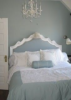 "Benjamin Moore Color... ""raindance."" A bluish-green that is absolutely stunning."
