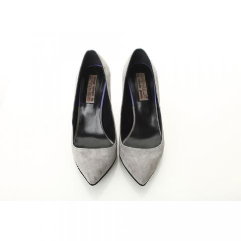 Pantofi toc mic gri piele intoarsa | The Boutique