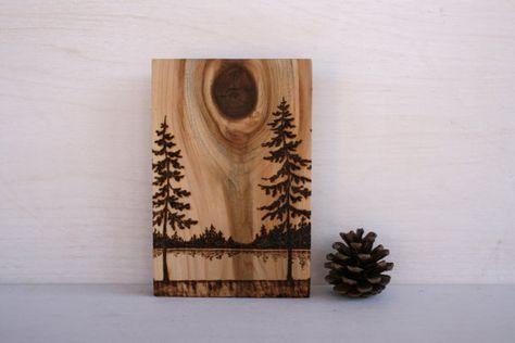 Horizons  Art Block  Woodburning by TwigsandBlossoms on Etsy, $38.00 Tree art wood burning...so lovely, so natural...