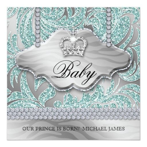 Baby Boy Party Invite Blue Crown Jewellery Leaves