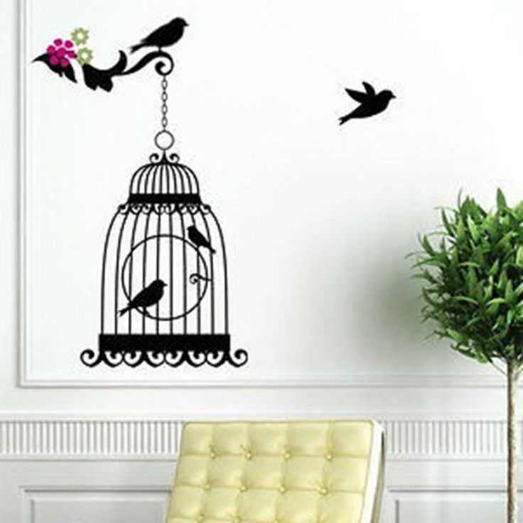 Elegant Bird Cage Vinyl Wall Decal Sticker