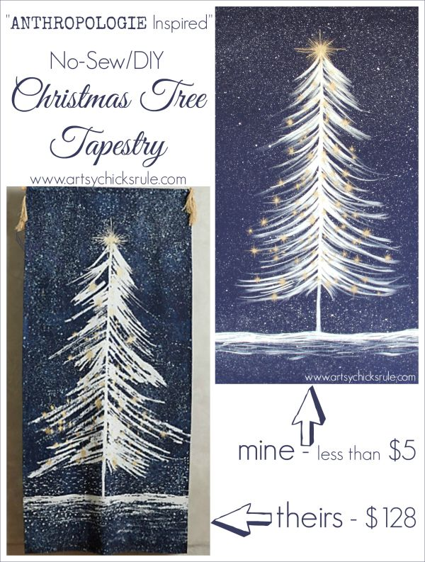 Christmas Wall Tapestry - Anthropologie Inspired - #wallhanging #tapestry #inspiredby #diy