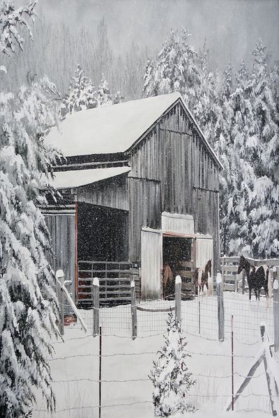 Snow Storm with Horses At Barn