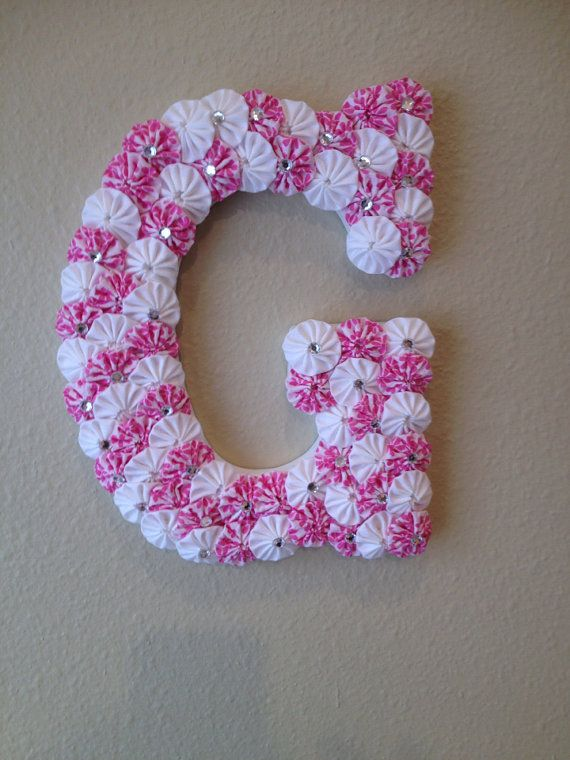 "Custom Wood Letters - Name or Initial Letters - 9"" Wooden Letters covered with Fabric yoyo's"