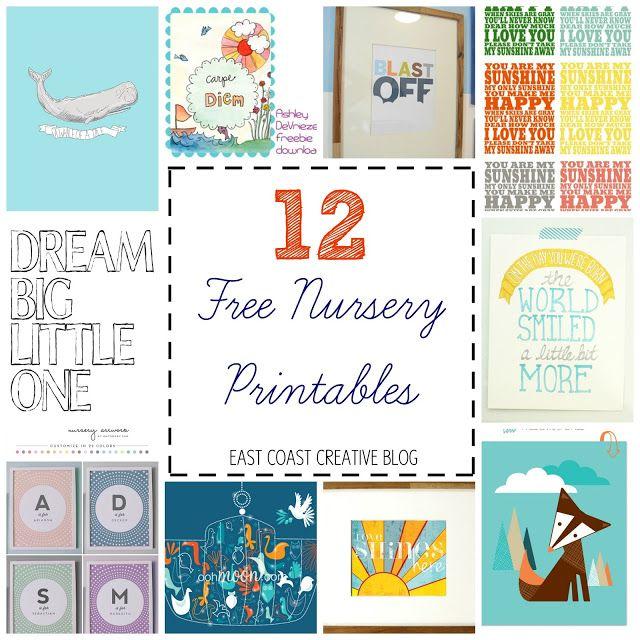 12 Free Nursery Printables - LOVE thee...Used the Carpe Diem print in our nursery!