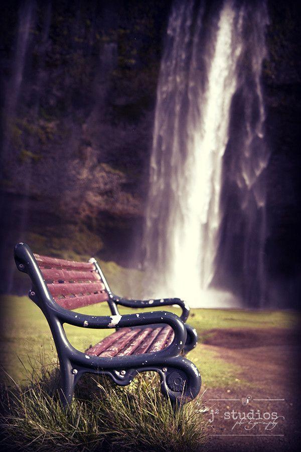 Reflections by the Falls, Seljalandsfoss Iceland park bench photography art print