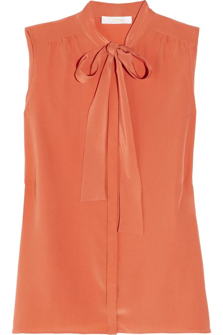 #chloe silk crepe bow #blouse